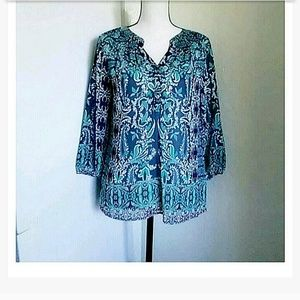 CHARTER CLUB | Blue and Green Tunic Petite